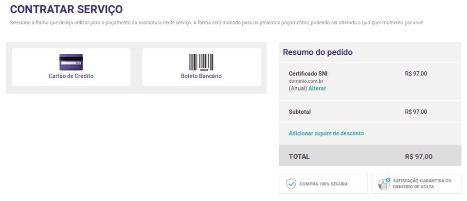 Esta imagem exibe a contratação do certificado SSL, onde é possível escolher a forma de pagamento.