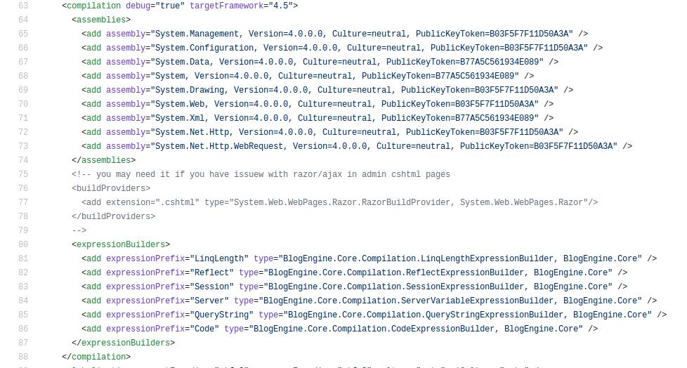 Na imagem, vemos a estrutura de assemblies em um arquivo web.config.