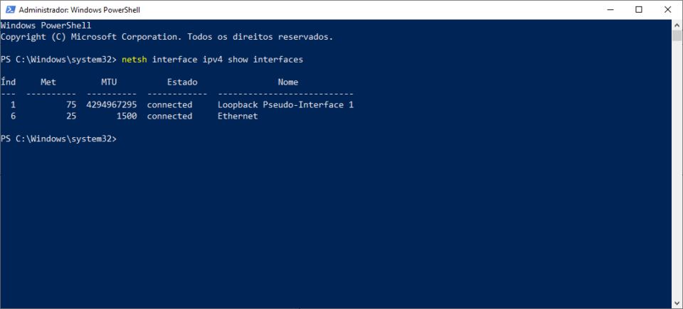 PowerShell do Windows listando as interfaces de rede da máquina.