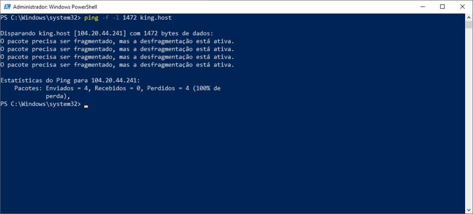 Teste de ping no PowerShell forçando o tamanho do pacote em1472 bytes.