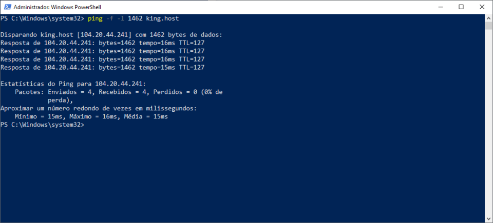 Teste de ping no PowerShell forçando o tamanho do pacote em1462 bytes.