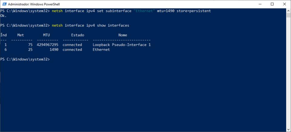 Executando o comando netsh para definir o MTU em 1490 bytes.