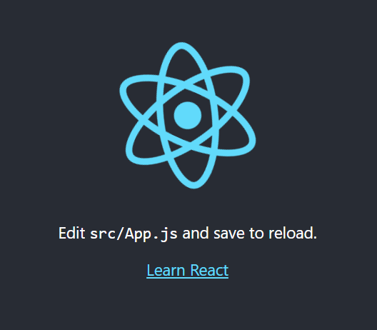 Aplicação padrão react rodando