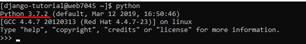 No início da segunda linha mostra qual a versão do python instalado no servidor, assim podemos fazer o deploy do django.