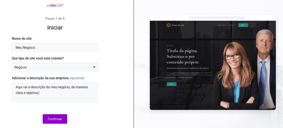 configurações iniciais do criador de sites