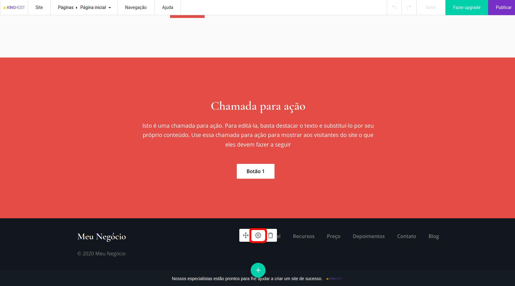 Criador de sites, alterando configurações e dados comerciais.