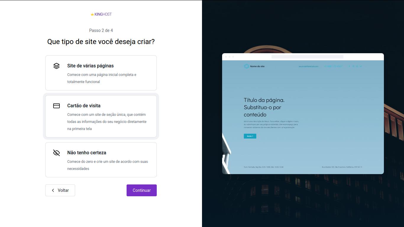 Como criar um site no estilo cartão de visitas