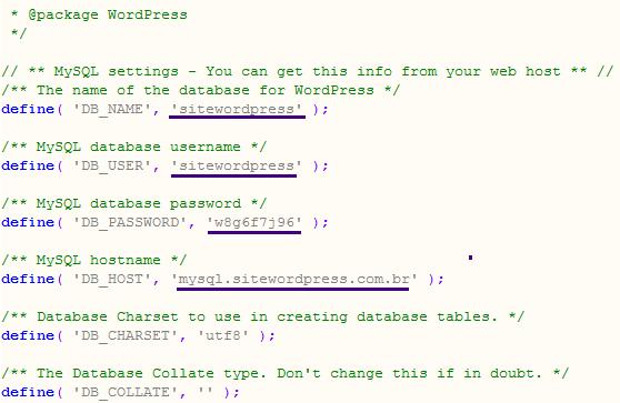 Como migrar um site WordPress. A imagem mostra um trecho do arquivo wp-config.php com informações do banco de dados.