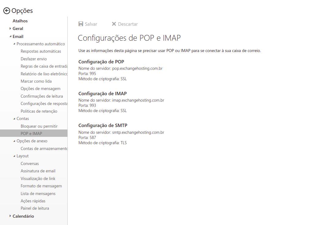 Email -> Contas -> POP e IMAP