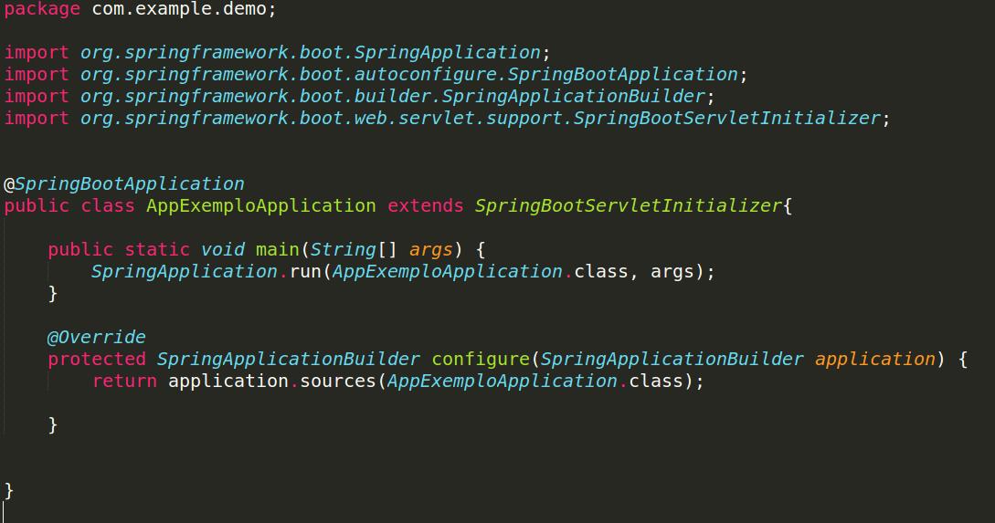 Configurando a classe SpringBootServletInitializer.