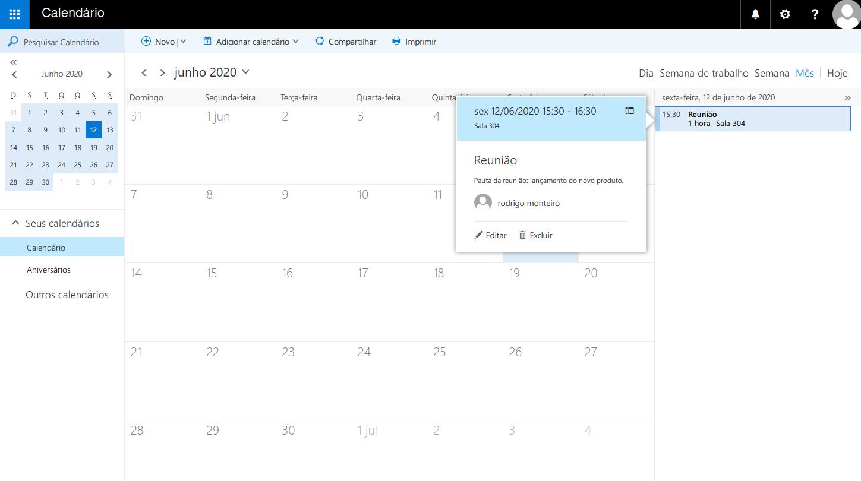 Opção para editar ou excluir um evento no calendário.