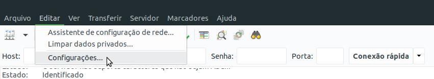 Configurações do FileZilla