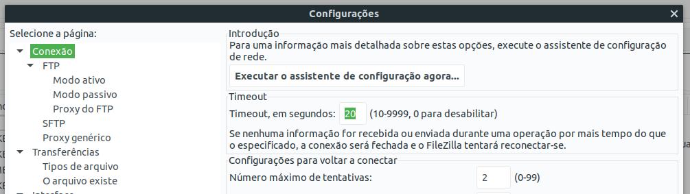 Configurações do FileZilla. Alterando o timeout.
