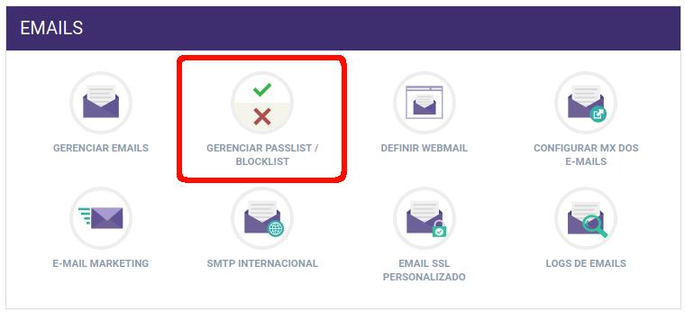 Painel de Controle > Gerenciar Passlist / Blocklist