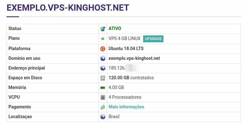 VPS Linux, informações do serviço no painel de controle KingHost.