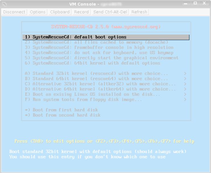 VPS Linux, iniciando o system rescue.