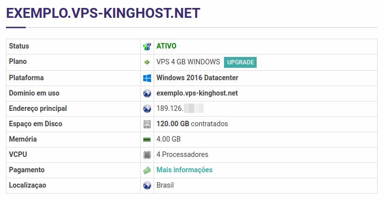 VPS Windows, informações do serviço no painel de controle KingHost.