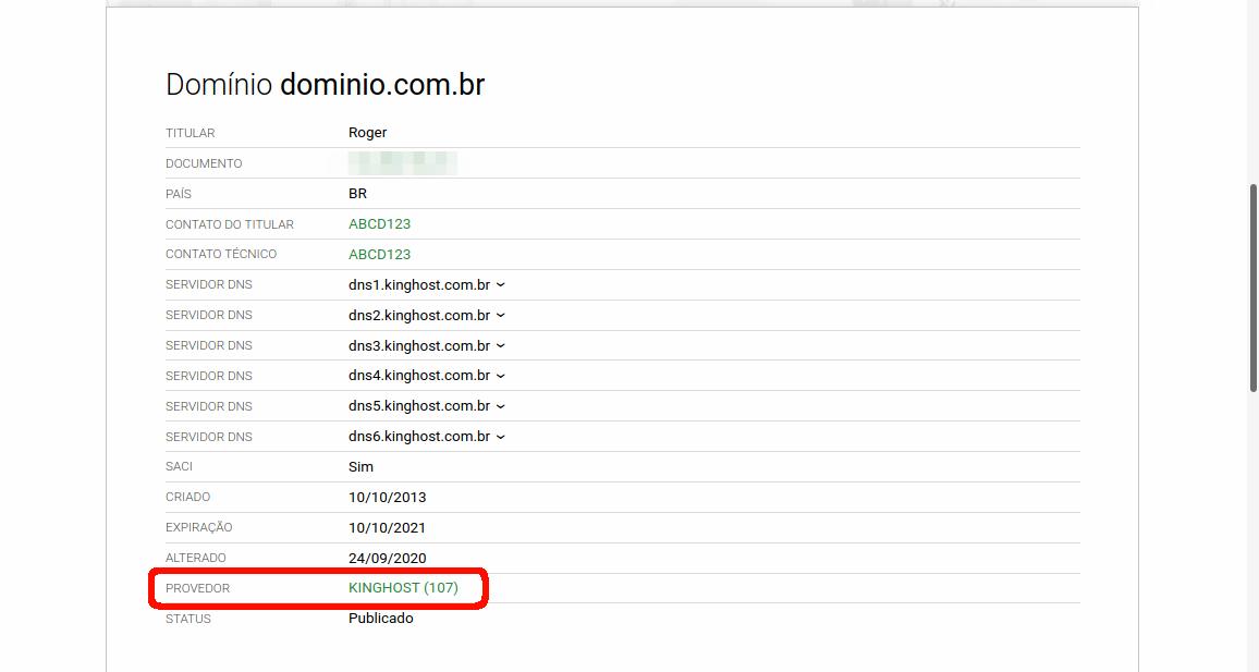 Exemplo de whois de um domínio com o servidor kinghost selecionado.