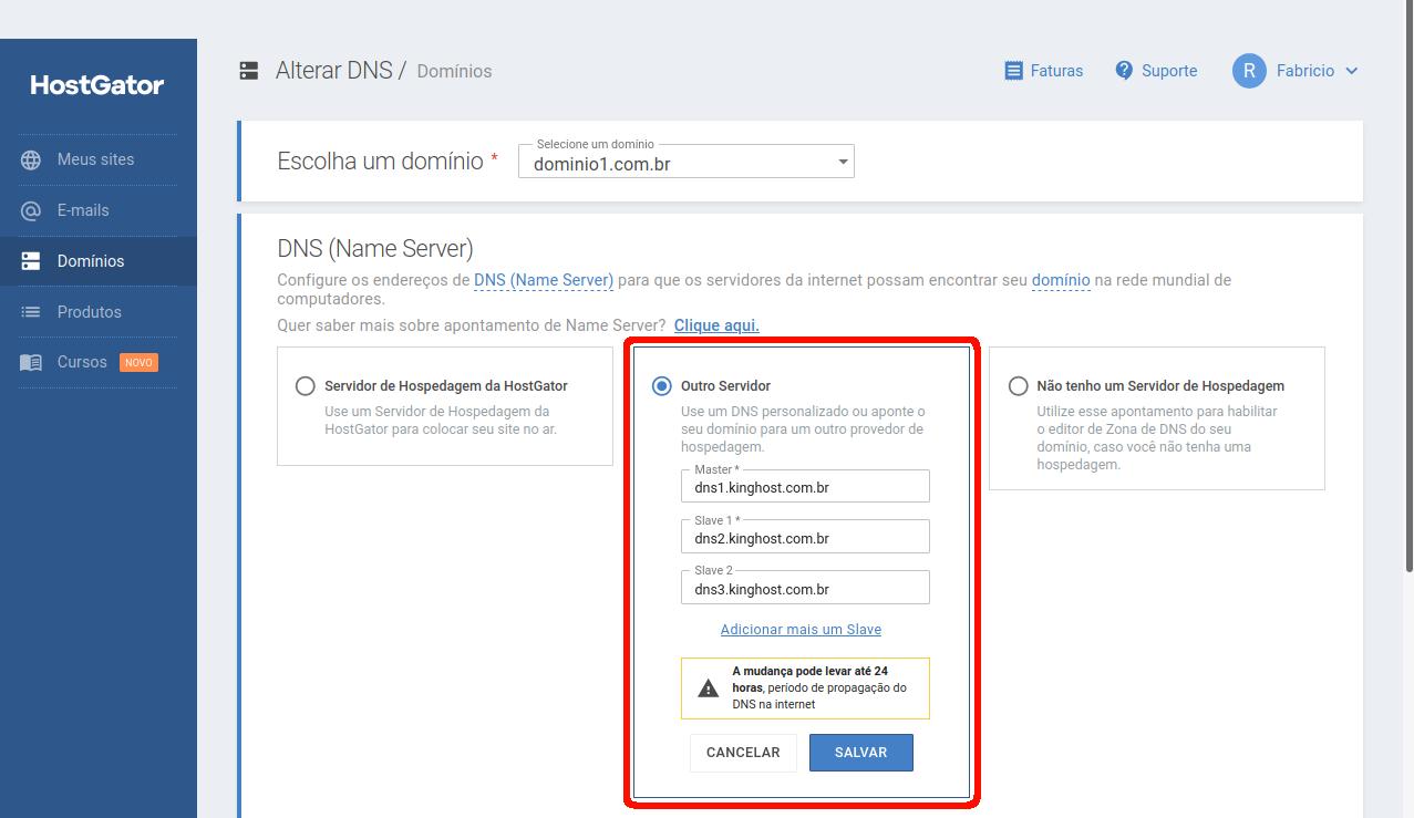 Selecionando a opção Outro Servidor e apontando os DNS da KingHost.