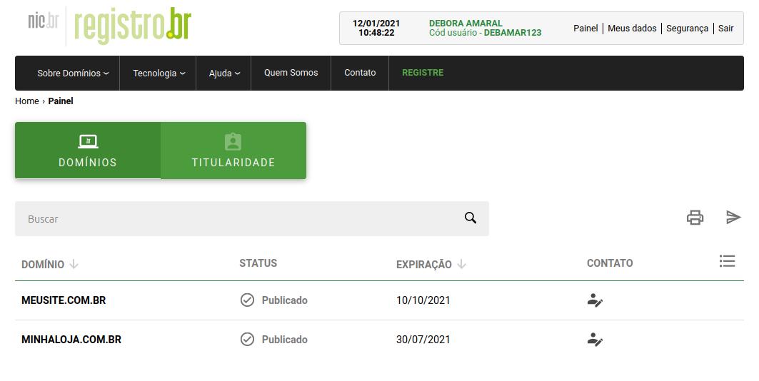 Selecionando domínio no painel da registro.br.
