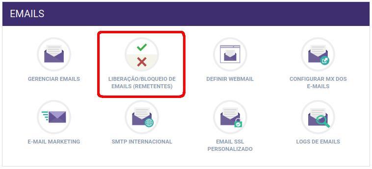 Painel de Controle > Liberação/bloqueio de e-mails remetentes