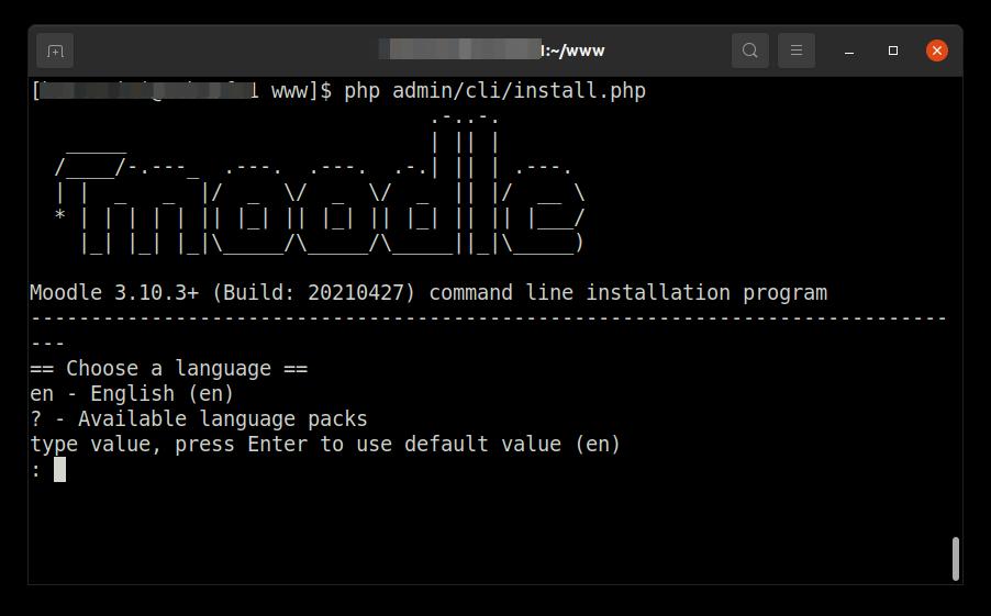 Tela inicial de instalação do Moodle.