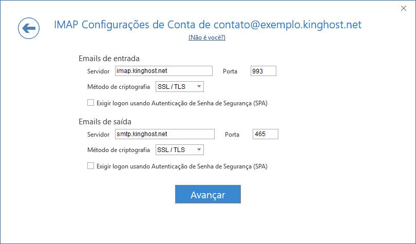 Configurações de servidor de entrada e de saída.