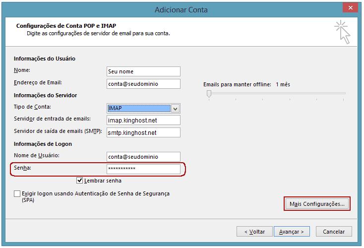 Aqui você pode alterar os servidores de entrada e saída, informar uma nova senha para a conta e editar mais configurações.